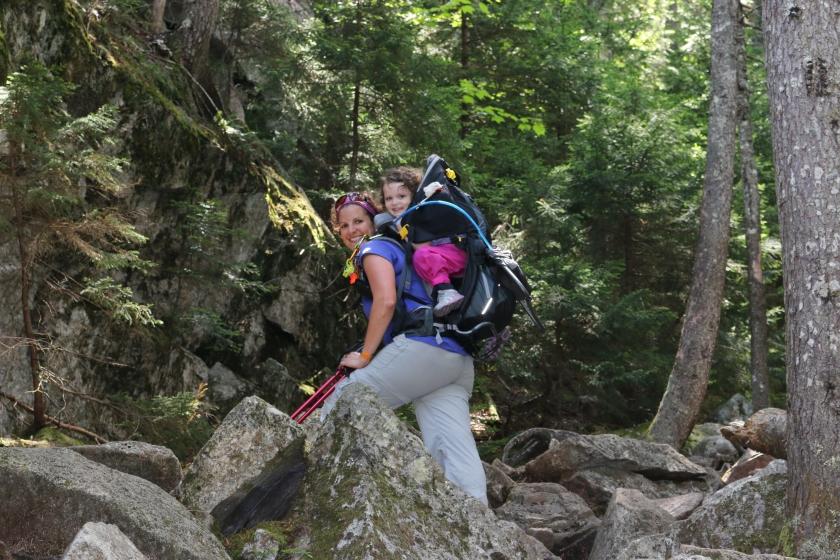 Rock stepping up Webster-Jackson Trail