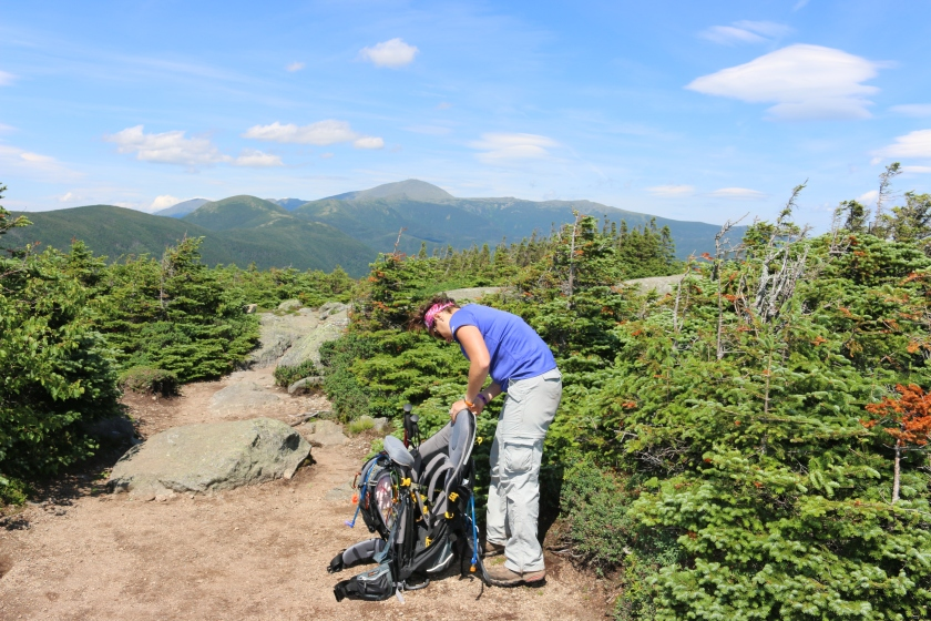 Checking my gear with Mt. Washington in the background