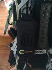 Front view of the strap connecting to your shoulder strap