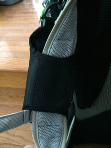 Back view connecting to your shoulder strap